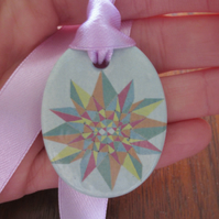 Stargaze Pattern Ceramic Pendant on Adjustable Lilac Ribbon with Popper Closures