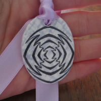 Mauve Geometric Ceramic Pendant on Adjustable Lilac Ribbon with Popper Closures