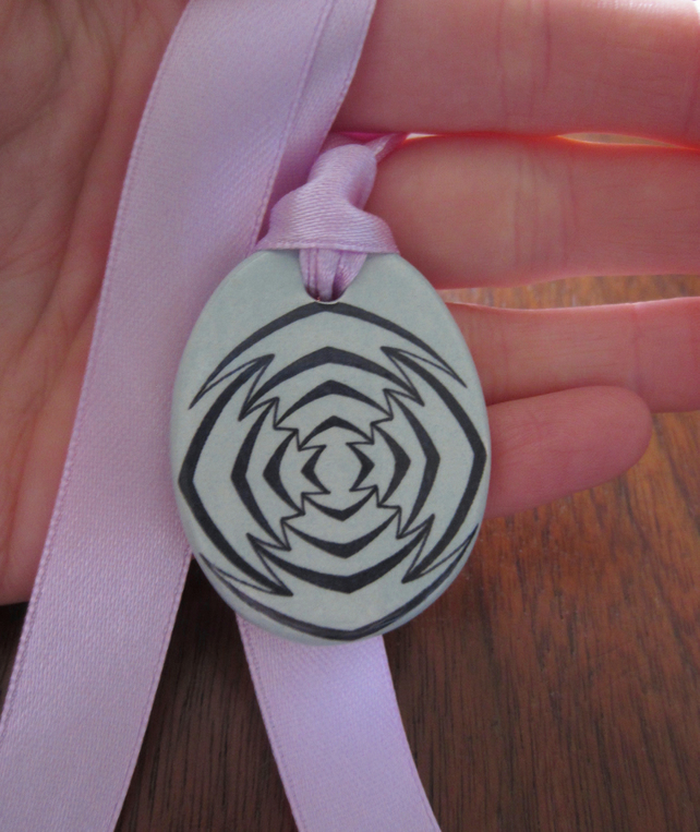 Geometric Ceramic Pendant on Adjustable Lilac Ribbon with Popper Closures