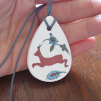 Ottoman Inspired Roe Deer Ceramic Pendant on Grey Cord with Lobster Clasp