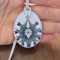 Hummingbird Pattern Ceramic Pendant on Light Grey Cord with Lobster Clasp