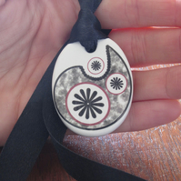 Paisley Star Pattern Ceramic Pendant on Adjustable Black Ribbon with Poppers