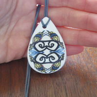 Swallowtail Butterfly Wing Ceramic Pendant on Grey Cord with Lobster Clasp