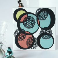 Peach, Blue and Yellow Circle Pattern Ceramic Tile Trivet with Cork Backing