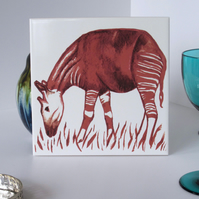 Okapi Design Ceramic Tile Trivet with Cork Backing