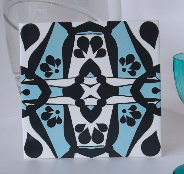 Light Blue and Black Geometric Pattern Ceramic Tile Trivet with Cork Backing