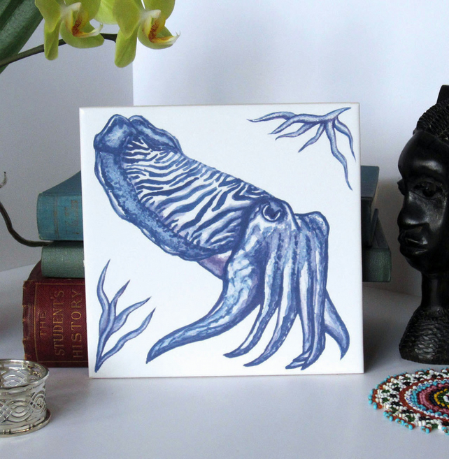 Blue Cuttlefish Tile Trivet with Cork Backing