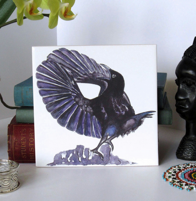 Paradise Riflebird Ceramic Tile Trivet with Cork Backing