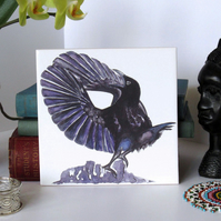 Paradise Riflebird Design Ceramic Tile Trivet with Cork Backing