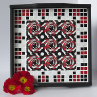 Oriental Inspired Tile and Mosaic Wooden Tray in Red Black and White