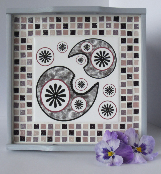Paisley Pattern Tile and Mosaic Grey Wooden Tray in in Pink and Mauve Tones