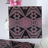 Pink and Black Decoupage Pattern Ceramic Tile Trivet with Cork Backing