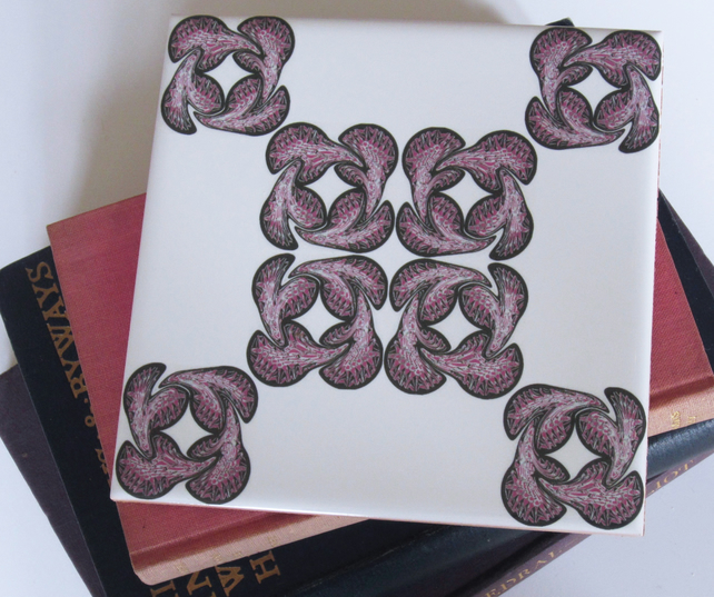 Pink Geometric Motif Ceramic Tile Trivet with Cork Backing