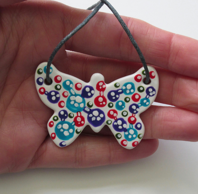 Bubble Pattern Hand Painted Ceramic Butterfly Pendant on Grey Cord with Clasp