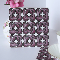 Pink Geometric Repeat Pattern Ceramic Tile Trivet with Cork Backing