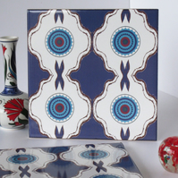 Deep Blue North African Inspired Geometric Ceramic Tile Trivet with Cork Backing