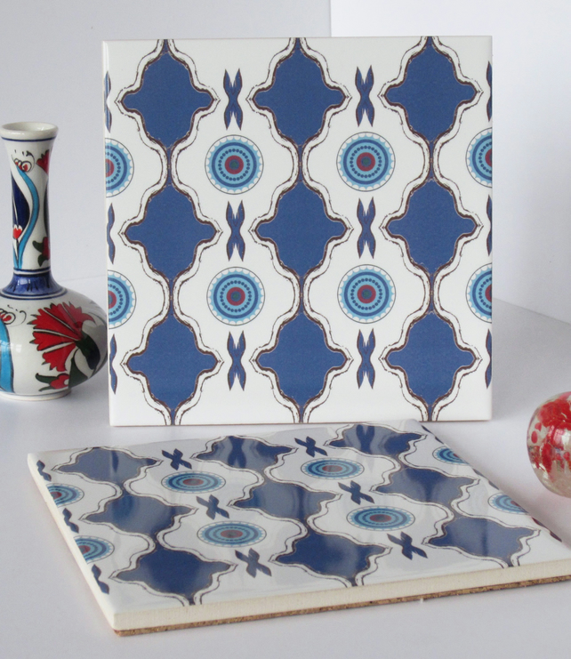 Blue and White North African Inspired Ceramic Tile Trivet with Cork Backing