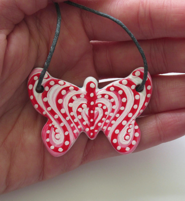 Red Heart Pattern Hand Painted Ceramic Butterfly Pendant on Grey Cord with Clasp