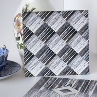 Grey Metallic Effect Diamond Design Ceramic Tile Trivet with Cork Backing