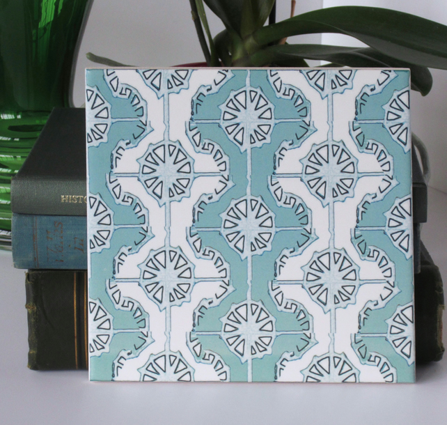 Mint and White Geometric Design Ceramic Tile Trivet with Cork Backing