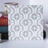 White Graphic Geometric Pattern Ceramic Tile Trivet with Cork Backing