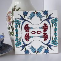 Ottoman Inspired Bird and Floral Ceramic Tile Trivet with Cork Backing
