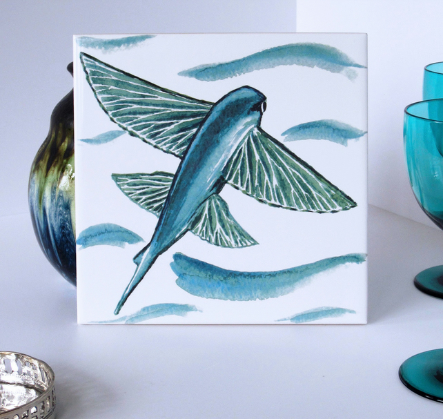 Turquoise Flying Fish Tile Trivet with Cork Backing