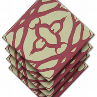 4 x Lace Pattern Ceramic Coasters with Cork Backing