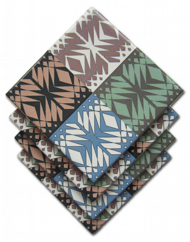 4 x Tapestry Pattern Ceramic Coasters with Cork Backing