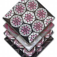 4 x Mixed Pattern Ceramic Coasters in Pink, Black and Grey with Cork Backing