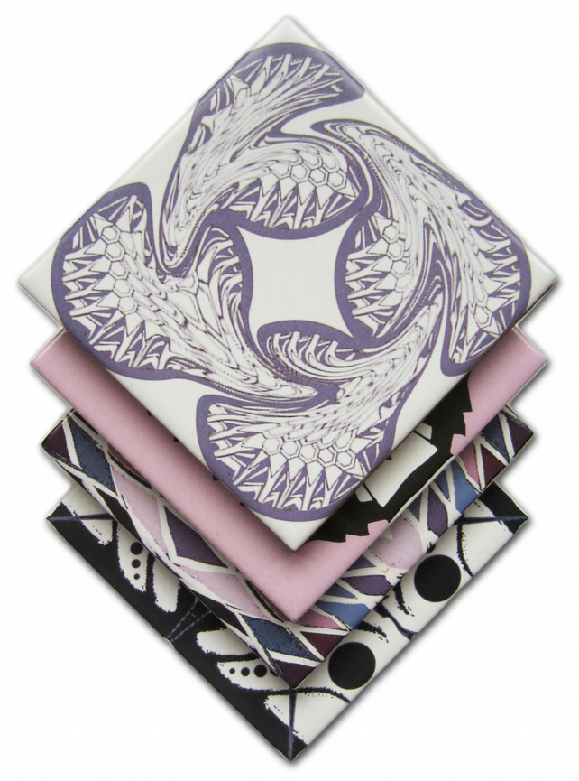 4 x Mixed Pattern Ceramic Coasters in Pink, Purple and Black with Cork Backing