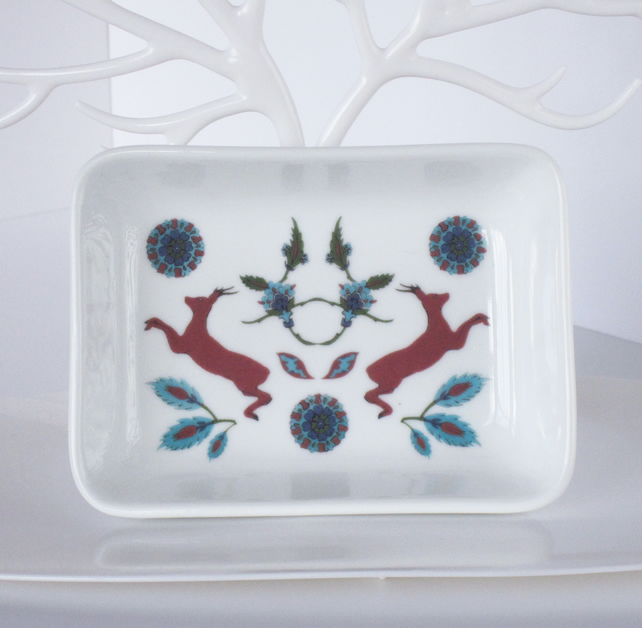 Ottoman Inspired Deer Pattern Ceramic Dish, 13 x 9.5cm, Many Uses