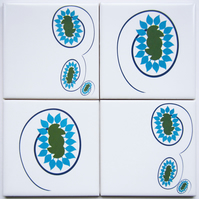 Set of 4 Light Blue Floral Ceramic Tile Coasters in 2 Complementary Patterns