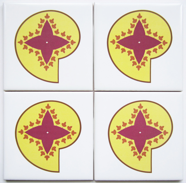 4 x Yellow and Pink Paisley Ceramic Tile Coasters with Cork Backing