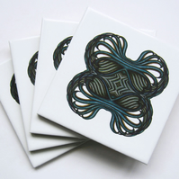 4 x Teal green Talon Pattern Ceramic Tile Coasters with Cork Backing