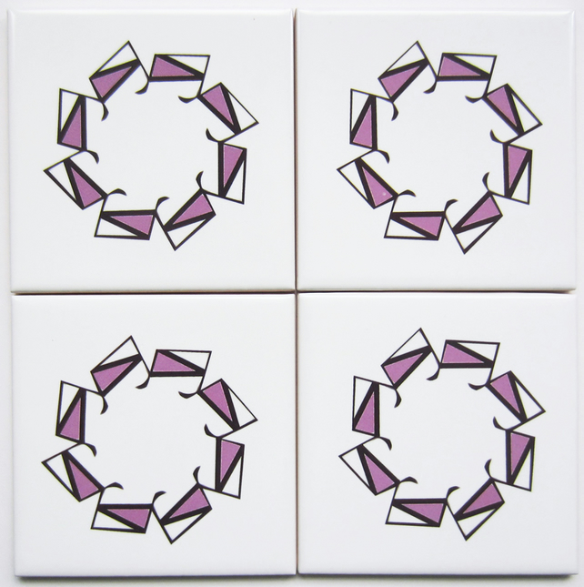 4 x Pink Geometric Ceramic Tile Coasters with Cork Backing