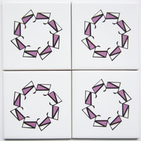 4 x Pink Geometric Ceramic Tile Coasters with Cork Backing - CLEARANCE PRICE