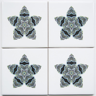 4 x Ragged Star Pattern Ceramic Tile Coasters with Cork Backing