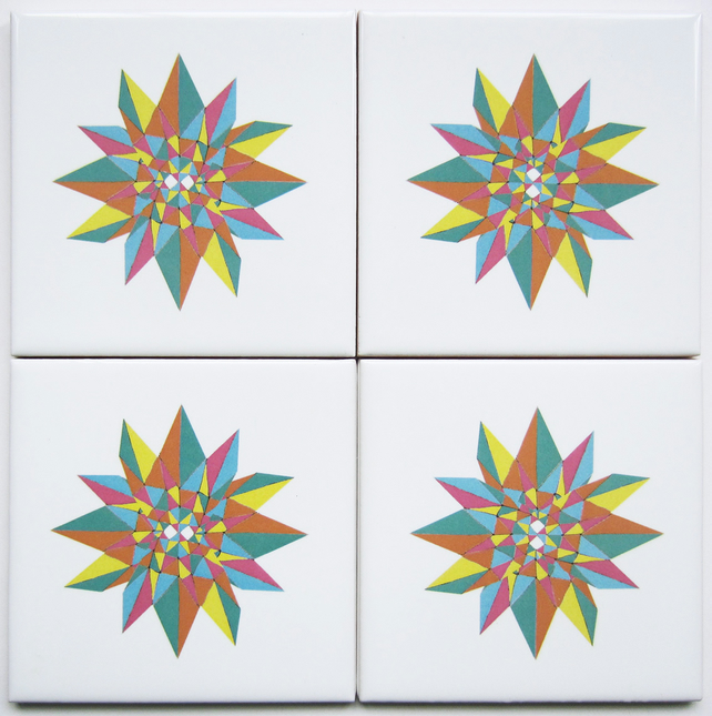 4 x Stargaze Pattern Ceramic Tile Coasters in Candy Colours with Cork Backing
