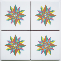 4 x Multicoloured Geometric Star Pattern Ceramic Tile Coasters with Cork Backing