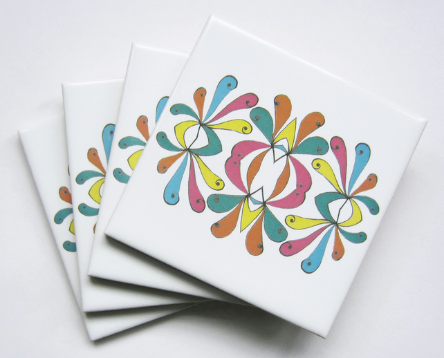 4 x Curlicue Pattern Ceramic Tile Coasters in Candy Colours with Cork Backing