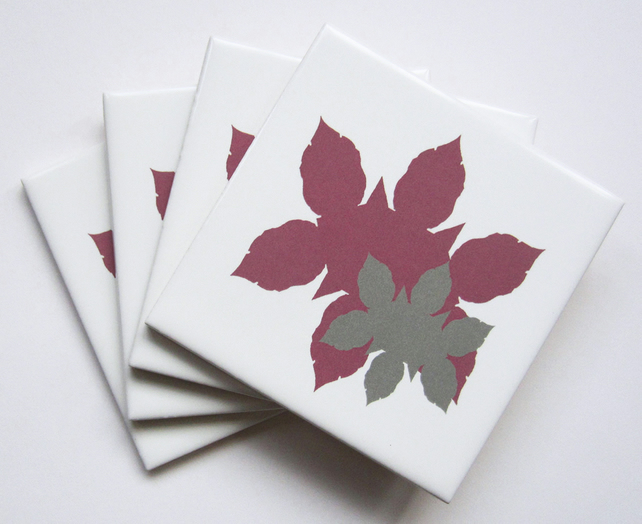 4 x Pink Leaf Silhouette Pattern Ceramic Tile Coasters with Cork Backing