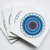 4 x Blue Circle Ceramic Tile Coasters with Cork Backing