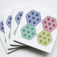 4 x Pastel Hexagon Pattern Ceramic Tile Coasters with Cork Backing