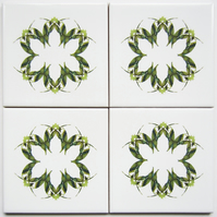 4 x Green Leaf Pattern Ceramic Tile Coasters with Cork Backing
