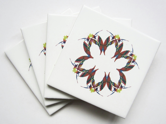 4 x Rainbow Colour Leaf Pattern Ceramic Tile Coasters with Cork Backing