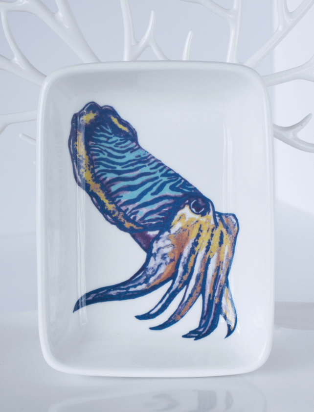 Cuttlefish Design Ceramic Dish, 13 x 9.5cm, Many Uses