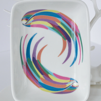 Multicoloured Wing Design Ceramic Dish, 13 x 9.5cm, Many Uses