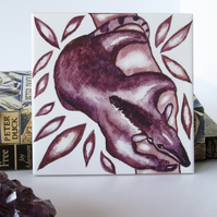 Tamandua (Tree Anteater) Design Ceramic Tile Trivet with Cork Backing