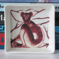 Indri Lemur Design Ceramic Dish, 10 x 10cm, Many Uses